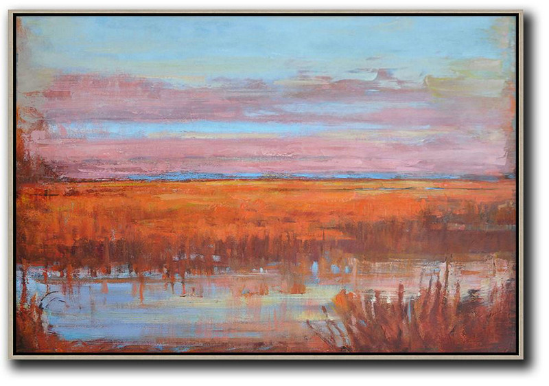Horizontal Abstract Landscape Oil Painting,Acrylic Minimailist Painting,Sky Blue,Pink,Orange,Red