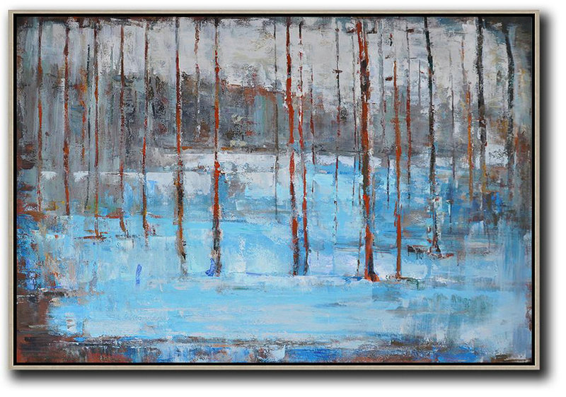 Horizontal Abstract Landscape Oil Painting,Big Canvas Painting,Blue,Grey,Red,White,Brown