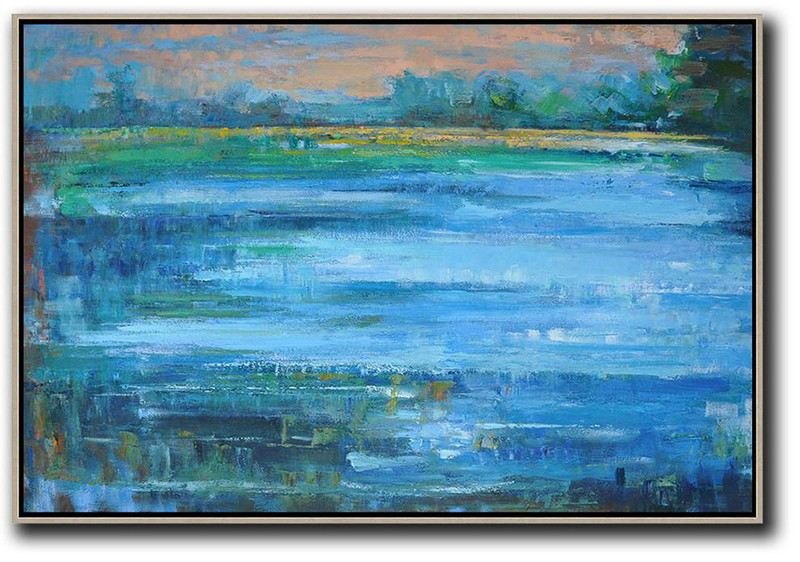 Horizontal Abstract Landscape Oil Painting,Hand Paint Large Art,Pink,Blue,Green,Yellow