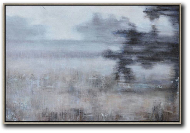 Horizontal Abstract Landscape Oil Painting,Original Art,White,Grey,Brown,Black