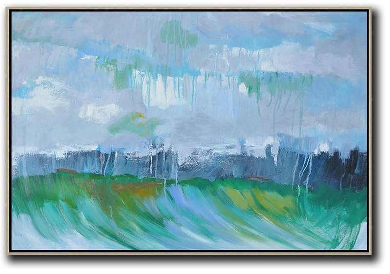 Horizontal Abstract Landscape Oil Painting,Original Art Acrylic Painting,Purple Grey,Green,Dark Blue