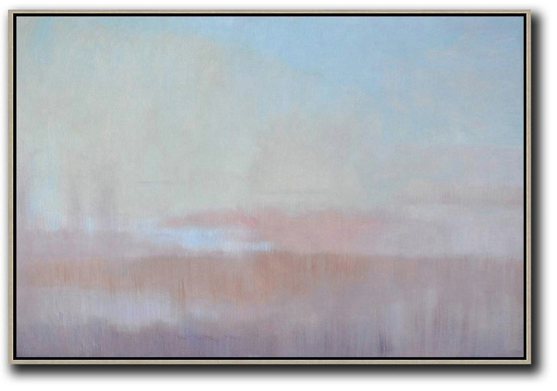 Horizontal Abstract Landscape Oil Painting,Contemporary Art Canvas Painting,Sky Blue,Light Yellow,Pink