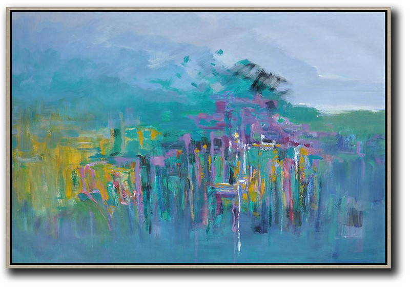 Horizontal Abstract Landscape Oil Painting,Oversized Canvas Art,Purple Grey,Green,Yellow,Purple