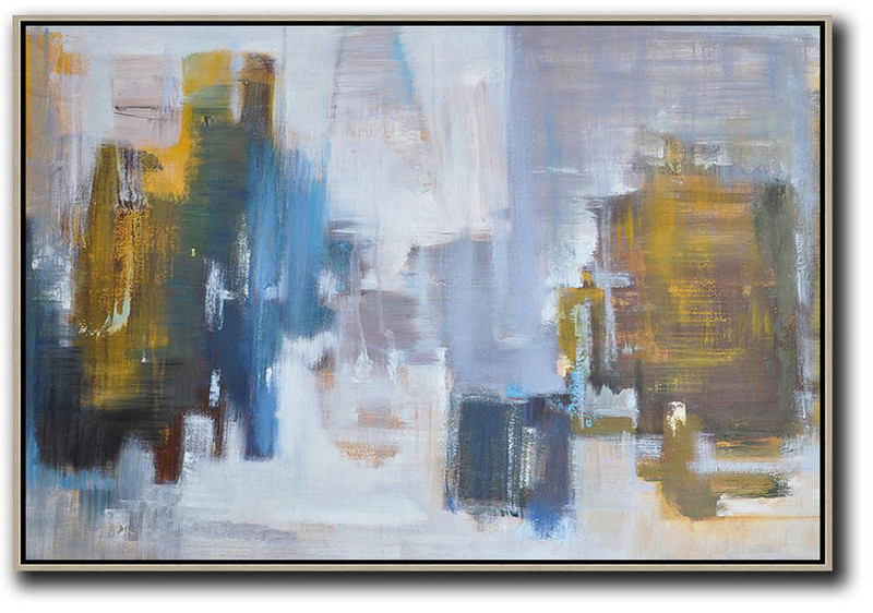 Horizontal Abstract Landscape Oil Painting,Original Art,Blue,White,Yellow,Purple Grey