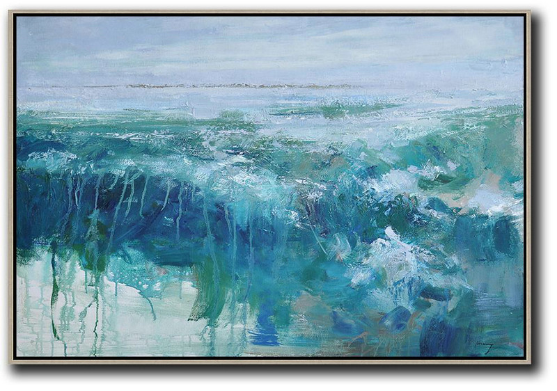 Horizontal Abstract Landscape Oil Painting,Original Art Acrylic Painting,Purple Grey,Dark Blue,Green,White