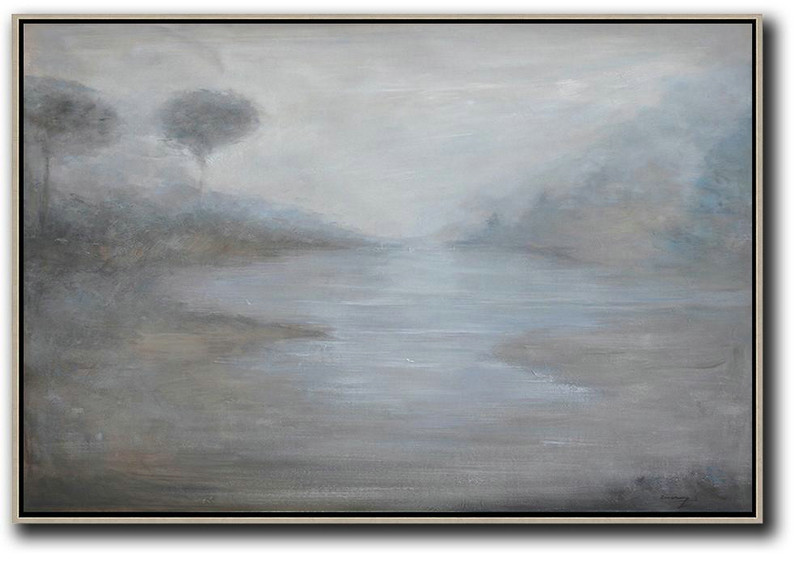 Horizontal Abstract Landscape Oil Painting,Oversized Canvas Art,White,Grey,Blue