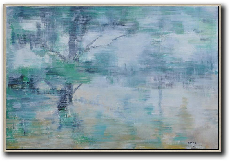 Horizontal Abstract Landscape Oil Painting,Large Living Room Decor,Green,Light Yellow,Black