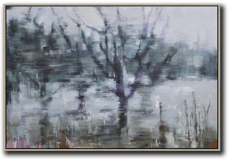 Horizontal Abstract Landscape Oil Painting,Contemporary Art Wall Decor,White,Dark Green,Purple,Black