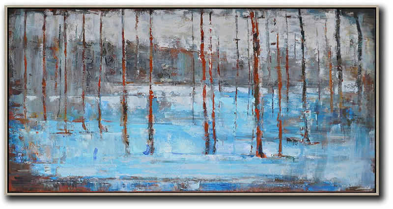 Panoramic Abstract Landscape Painting,Hand-Painted Contemporary Art,White,Grey,Red,Blue