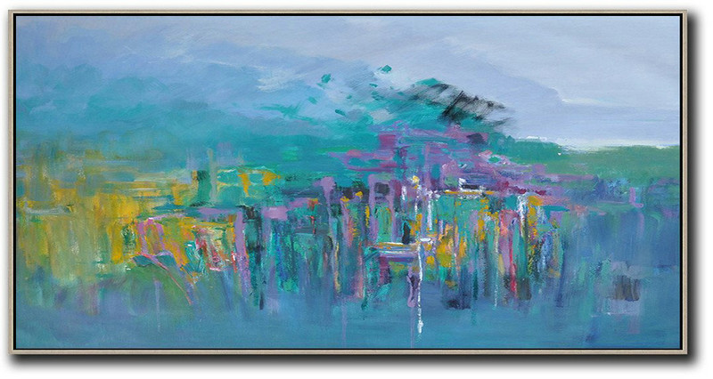 Panoramic Abstract Landscape Painting,Hand Painted Original Art,Purple Grey,Green,Purple,Yellow