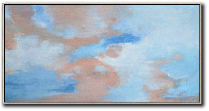 Panoramic Abstract Landscape Painting,Abstract Art Decor Large Canvas Painting,Pink,Blue,White