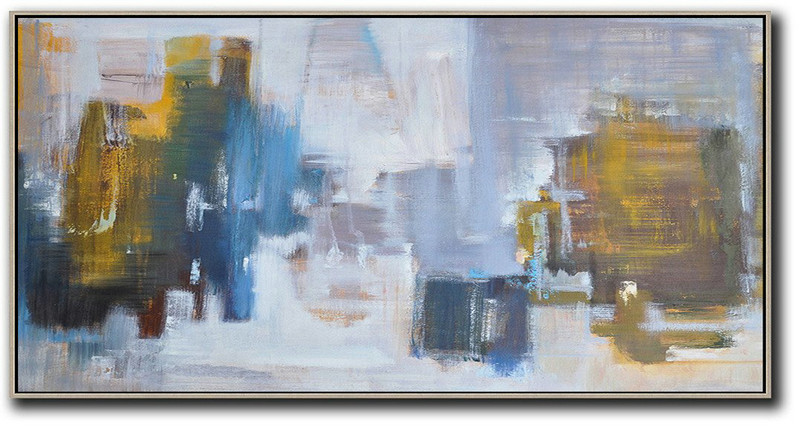 ca995f41a Panoramic Abstract Landscape Painting,Abstract Art On Canvas, Modern Art ,Yellow,Blue