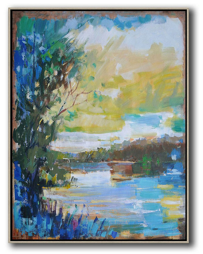 Abstract Landscape Painting,Modern Paintings On Canvas,Yellow,White,Blue,Dark Green