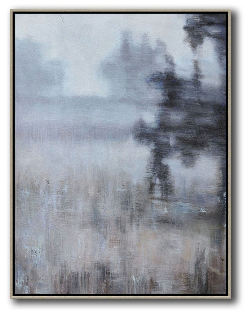 Abstract Landscape Painting,Canvas Wall Art,White,Grey,Brown,Black