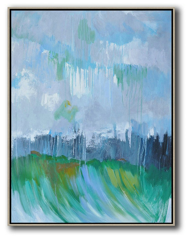 Abstract Landscape Painting,Modern Art,Sky Blue,Purple Grey,Dark Blue,Green