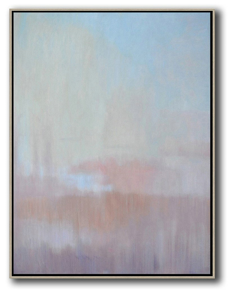 Abstract Landscape Painting,Large Abstract Wall Art,Sky Blue,Light Yellow,Pink