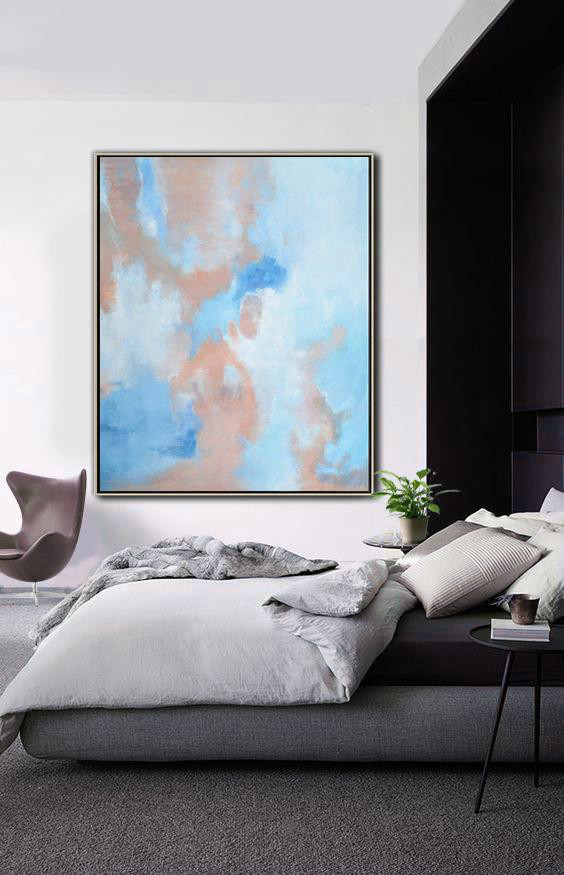 Abstract Landscape Painting,Large Abstract Wall Art,Pink,Blue,White