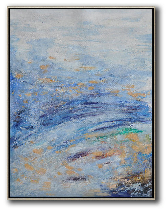 Abstract Landscape Painting,Large Living Room Wall Decor,Grey,Blue,Yellow
