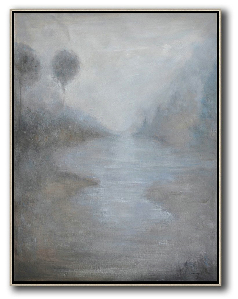Abstract Landscape Painting,Extra Large Artwork,White,Grey,Black