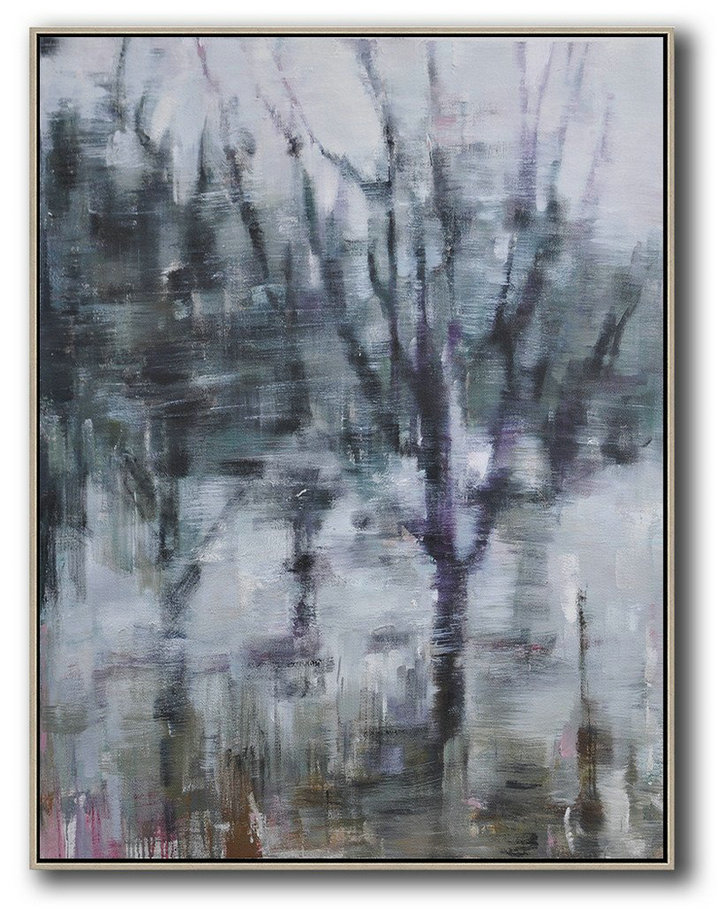 Abstract Landscape Painting,Hand Paint Large Clean Modern Art,White,Dark Green,Grey,Purple