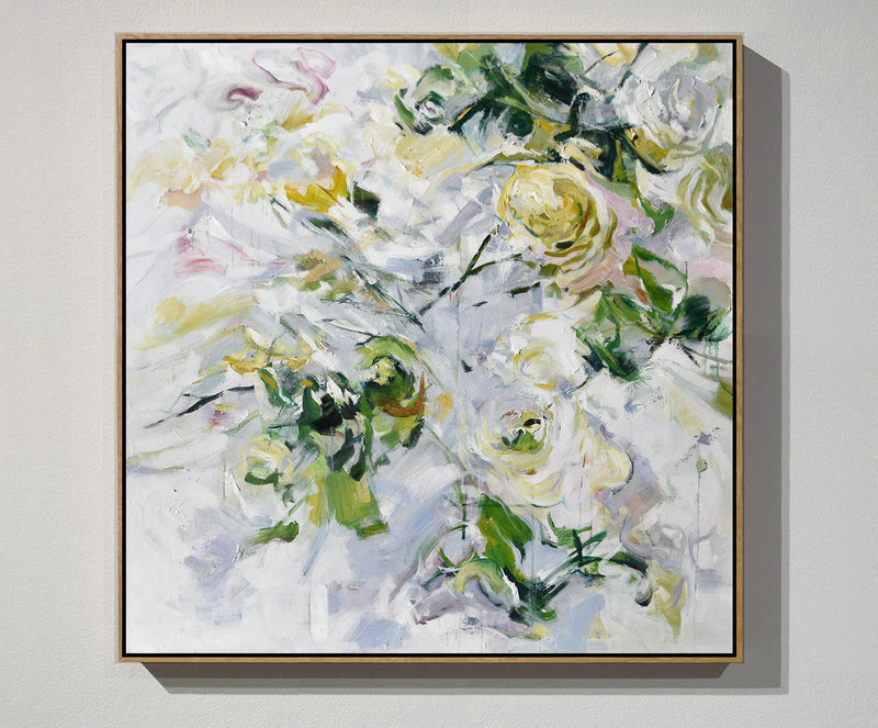 Oversized Abstract Flower Oil Painting,Unique Canvas Art #K8O0
