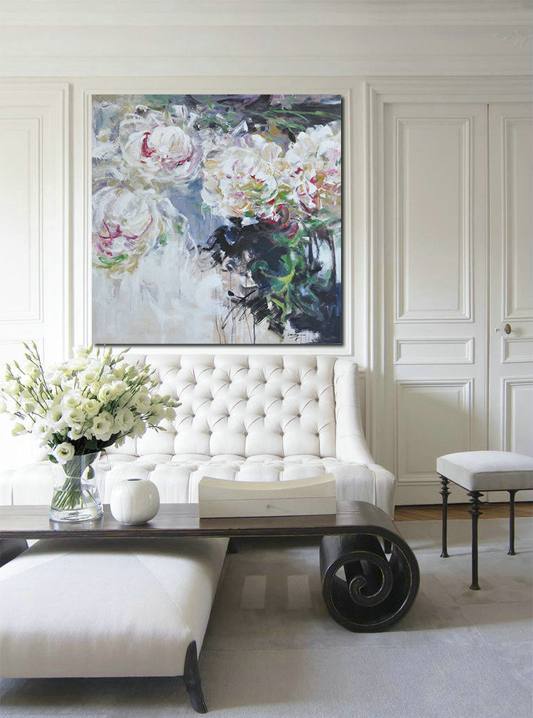 Abstract Flower Oil Painting Large Size Modern Wall Art,Extra Large Canvas Painting #K7Y0