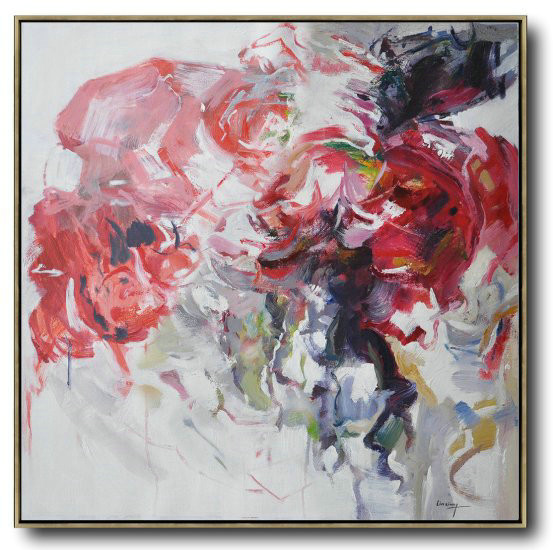 Abstract Flower Oil Painting Large Size Modern Wall Art,Size Extra Large Abstract Art #S9R9