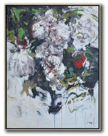 Hame Made Extra Large Vertical Abstract Flower Oil Painting,Large Paintings For Living Room #X1B8