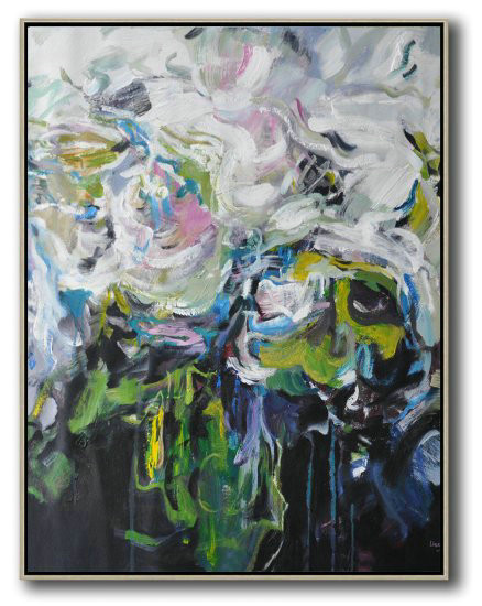 Hame Made Extra Large Vertical Abstract Flower Oil Painting,Large Abstract Art Handmade Acrylic Painting #V3H2