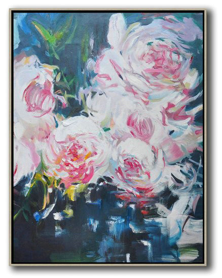 Hame Made Extra Large Vertical Abstract Flower Oil Painting,Large Canvas Art,Modern Art Abstract Painting #Q7T5