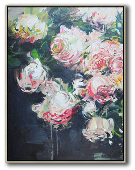 Hame Made Extra Large Vertical Abstract Flower Oil Painting,Original Art Acrylic Painting #F1C7