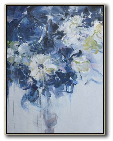 Hame Made Extra Large Vertical Abstract Flower Oil Painting