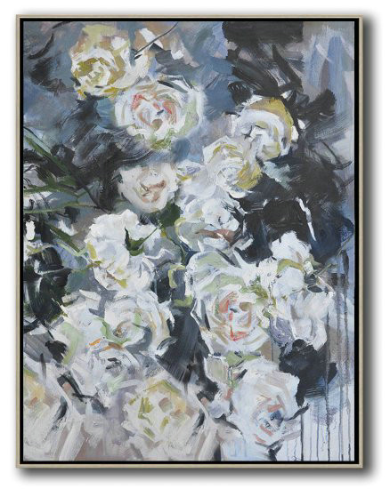 Hame Made Extra Large Vertical Abstract Flower Oil Painting,Hand-Painted Canvas Art #B4B1
