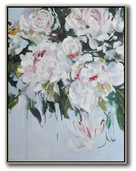Hame Made Extra Large Vertical Abstract Flower Oil Painting,Original Art Acrylic Painting #N1G8