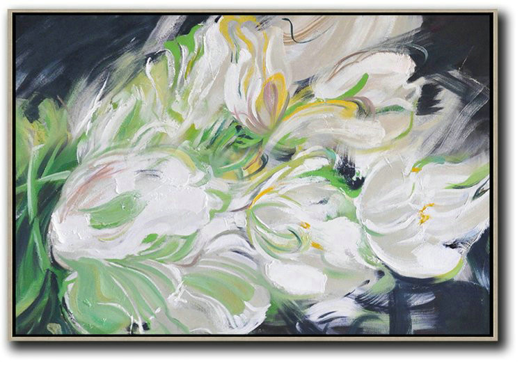 Horizontal Abstract Flower Painting Living Room Wall Art,Hand Painted Aclylic Painting On Canvas #D3Z5