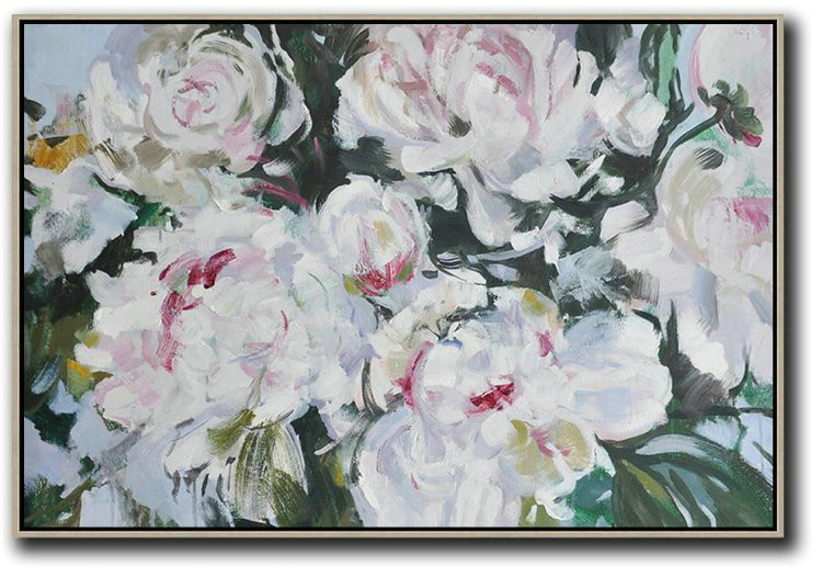 Horizontal Abstract Flower Painting Living Room Wall Art,Large Contemporary Art Canvas Painting #D2K9