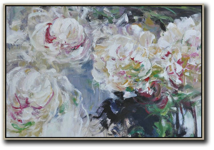 Horizontal Abstract Flower Painting Living Room Wall Art,Abstract Art Decor,Contemporary Painting #I8I5