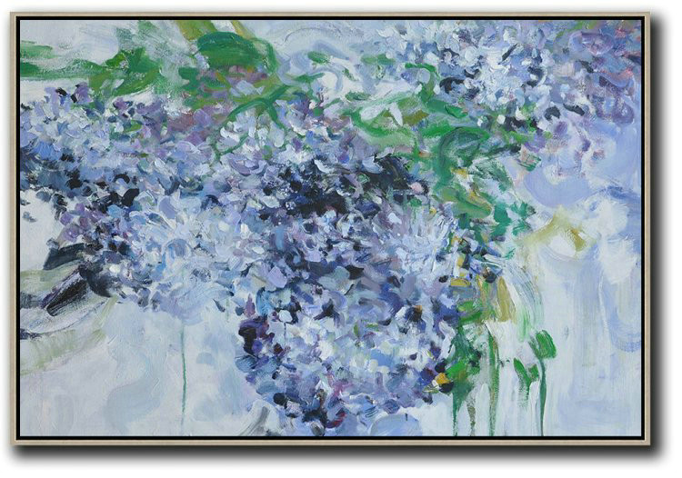 Horizontal Abstract Flower Painting Living Room Wall Art,Hand-Painted Contemporary Art #B0V3