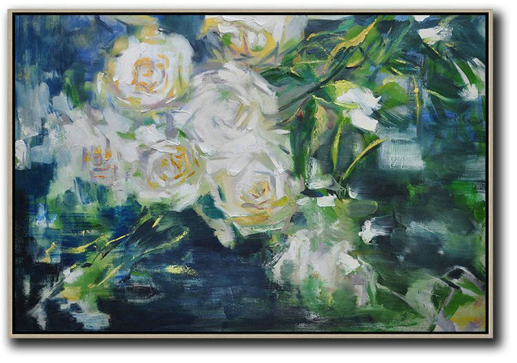 Horizontal Abstract Flower Painting Living Room Wall Art,Hand Painted Acrylic Painting #I0C8