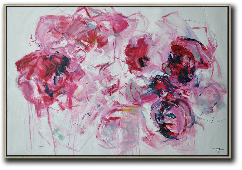 Horizontal Abstract Flower Painting Living Room Wall Art,Huge Abstract Canvas Art #D7Q6