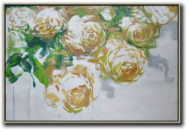 Horizontal Abstract Flower Painting Living Room Wall Art,Big Painting #O8G9