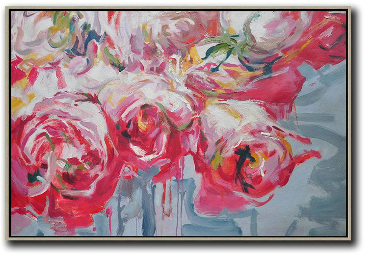 Horizontal Abstract Flower Painting Living Room Wall Art,Large Living Room Decor #T8H3