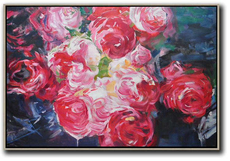 Horizontal Abstract Flower Painting Living Room Wall Art,Abstract Painting For Home #H0B0