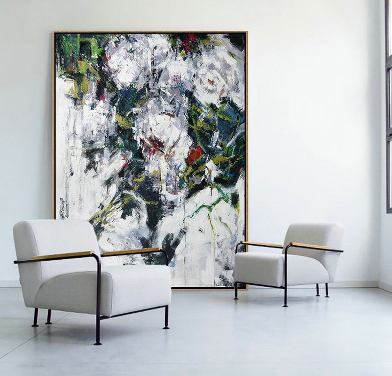 Oversized Abstract Flower Oil Painting,Large Canvas Art #V2R0